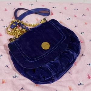 Juicy Couture Royal Blue Velvet crossbody handbag